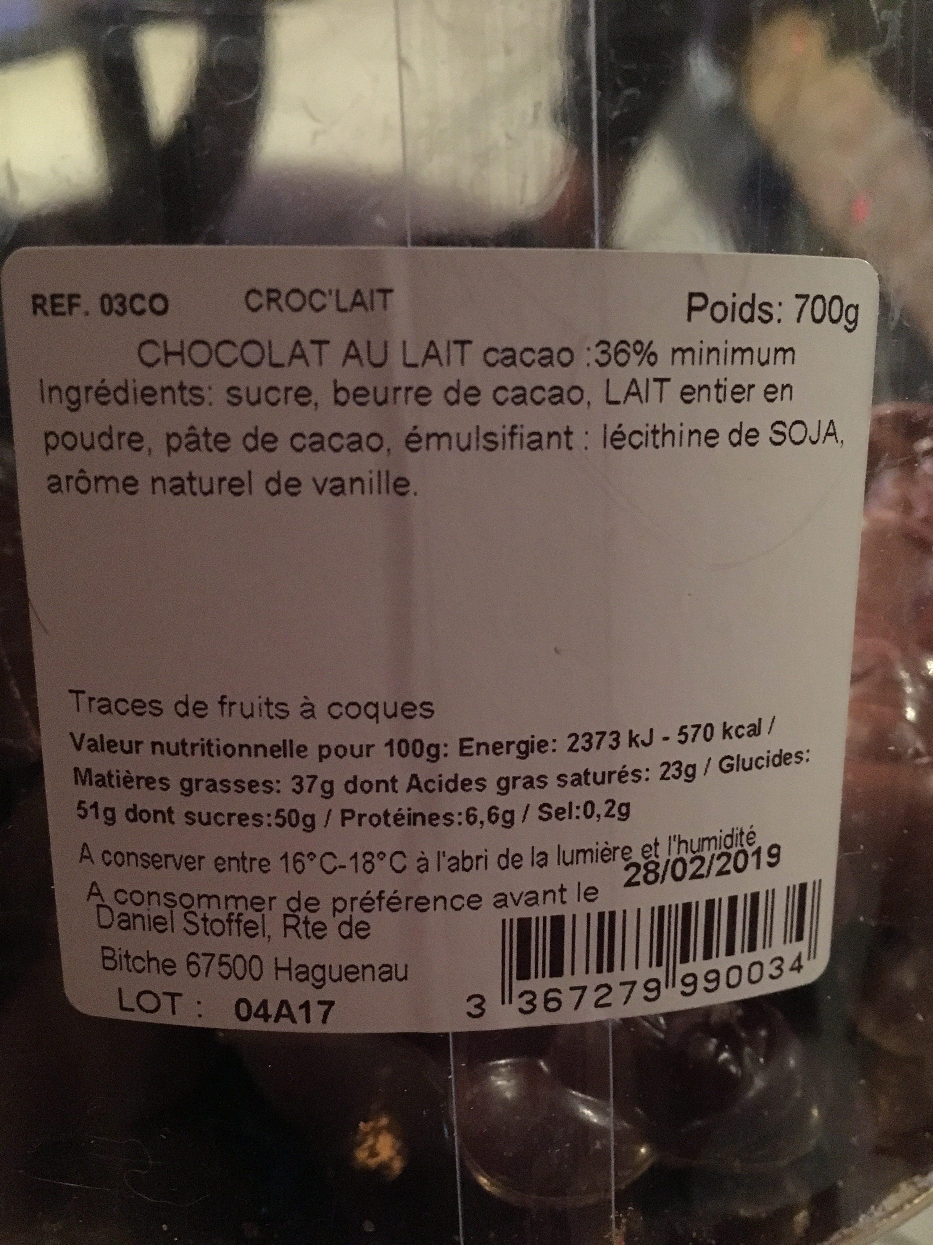 Croc'lait Noël 700gr - Ingrediënten