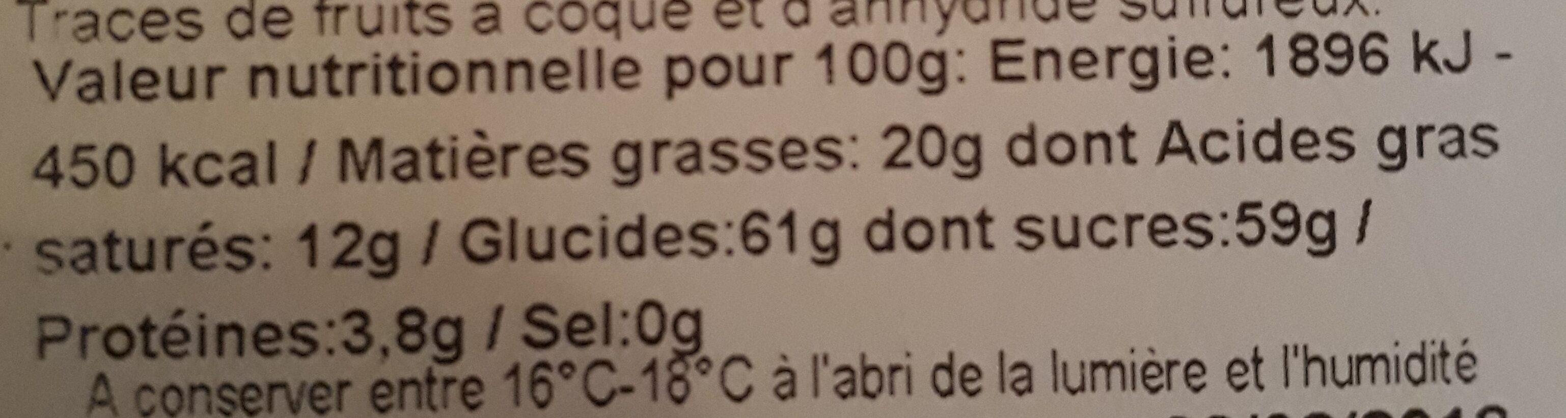 Orangettes - Valori nutrizionali - fr