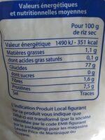 Riz long - Informations nutritionnelles - en