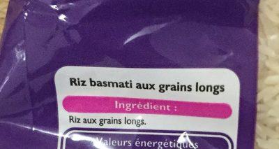 Riz Long Basmati - Ingrédients - fr