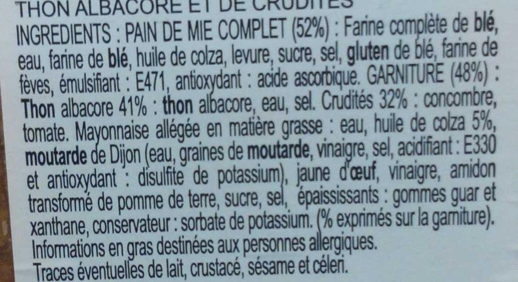 XXL Thon Oeuf crudites - Ingrédients - fr