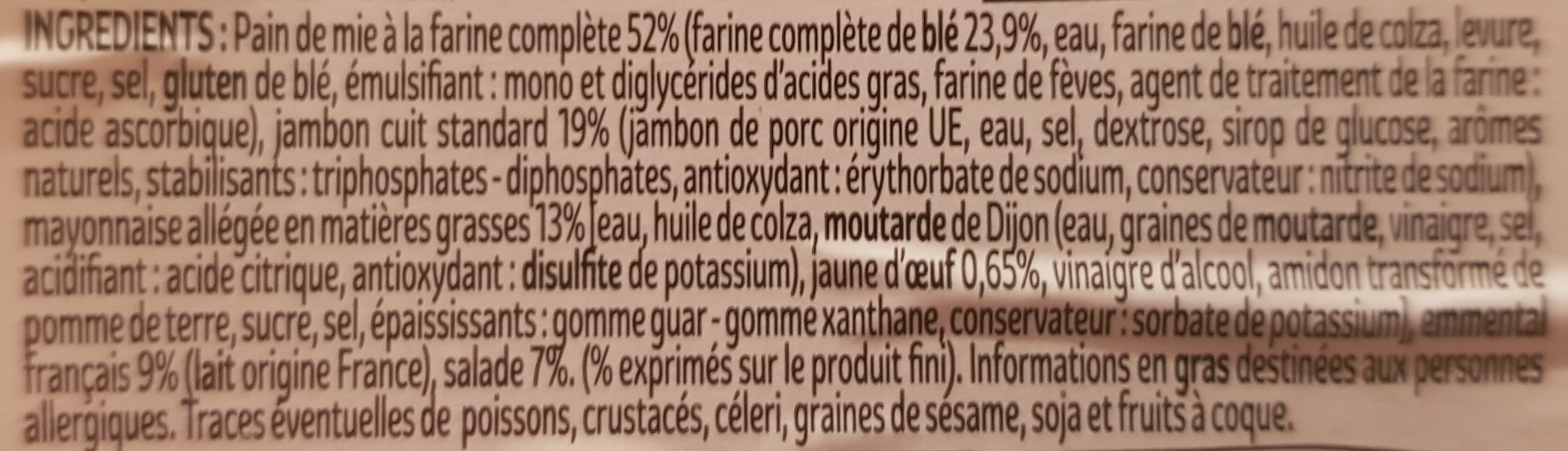XXL Pain complet Jambon Emmental Salade - Ingredients - fr