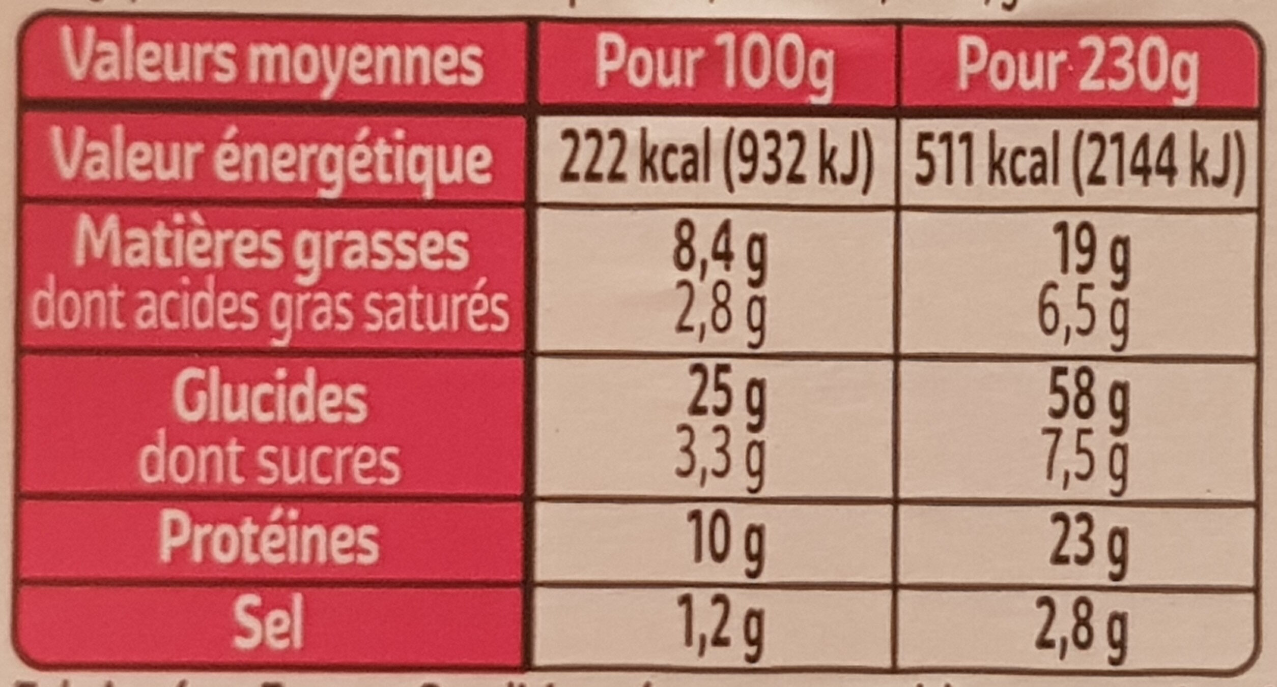 XXL Pain complet Jambon Emmental Salade - Nutrition facts - fr