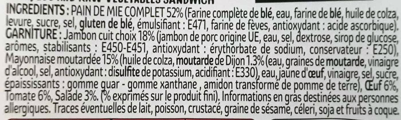 3 Jambon oeuf tomate salade au pain complet - Ingrédients - fr
