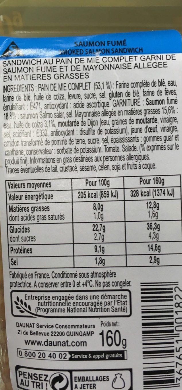 Saumon fume - Voedigswaarden