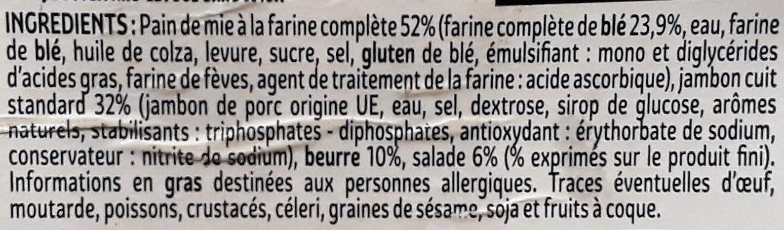 Jambon beurre salade fraîcheur XXL - Ingrédients - fr