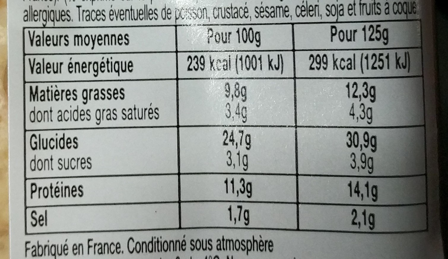 Jambon fromage - Nutrition facts