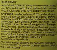 Jambon Comté A.O.P - Ingrédients