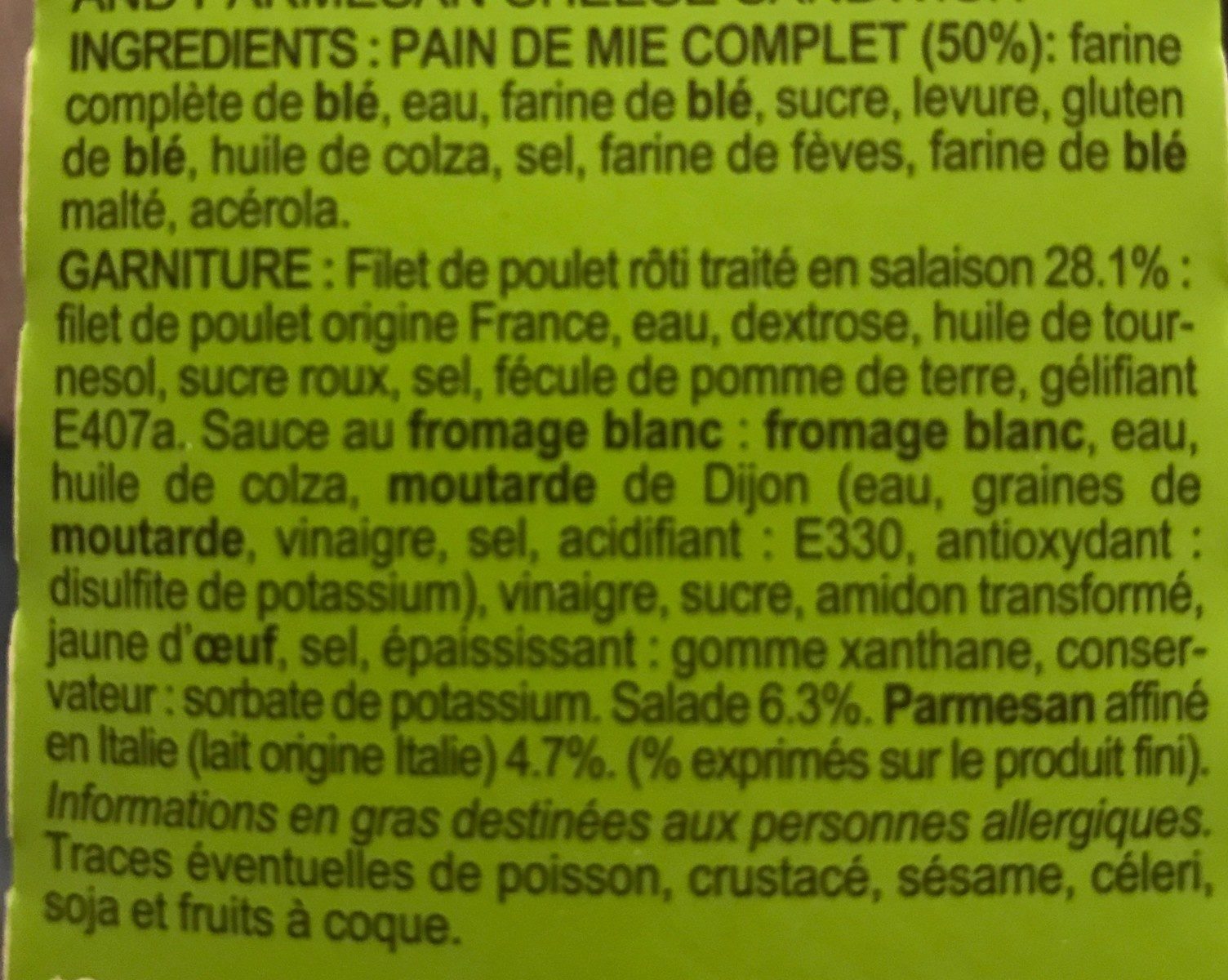 Poulet Rôti, Salade & Parmesan - Ingrédients - fr