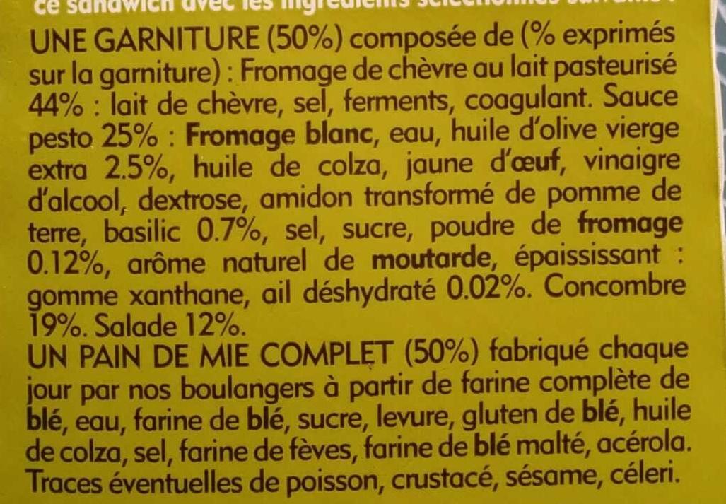 Club Sandwich chèvre concombre sauce basilic - Ingrédients - fr