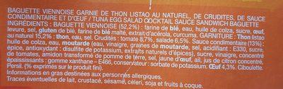 Le Moelleux Pain viennois Thon oeuf crudités Sauce cocktail - Ingrédients