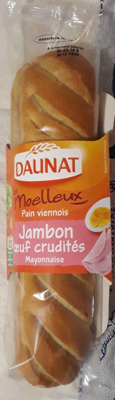 Le moelleux, Pain viennois, Jambon Oeuf Crudités Mayonnaise - Produit - fr