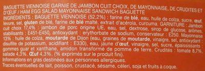 Le moelleux, Pain viennois, Jambon Oeuf Crudités Mayonnaise - Ingrédients
