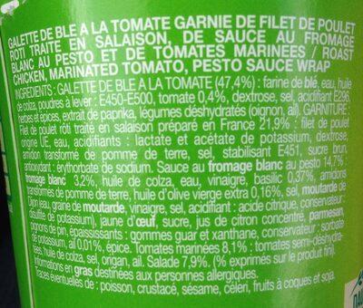 Be Wrappy poulet rôti, tomates marinées, sauce pesto - Ingrediënten - fr