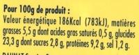 XXL 3 thon crudités + 1 gratuit - Informations nutritionnelles - fr