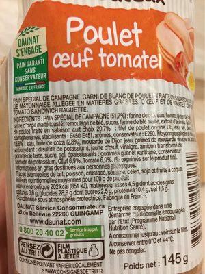 Poulet ?uf Tomate Le Gouteux - Voedingswaarden