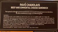 Pavé Le Charolais Bœuf Emmental - Ingrediënten