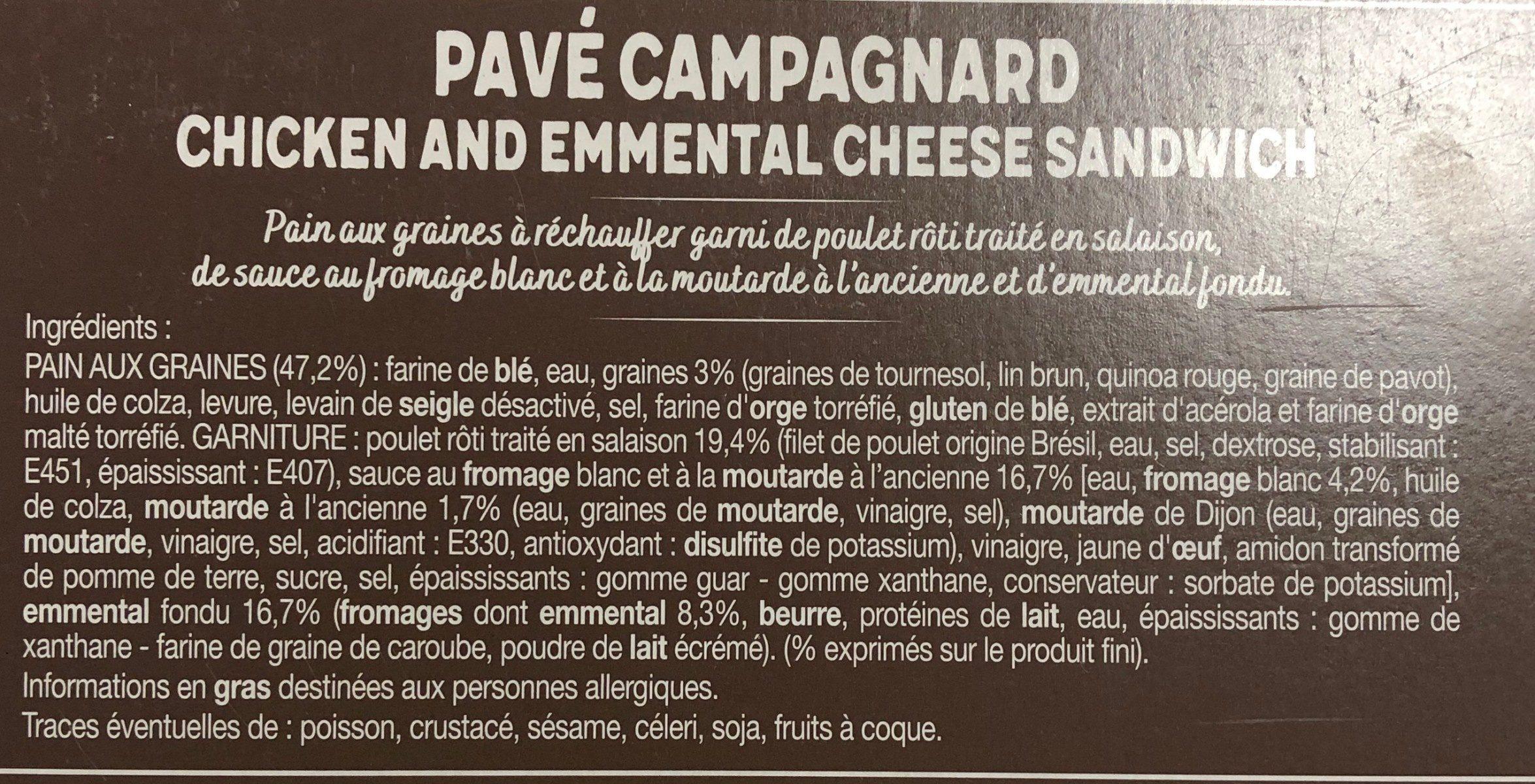Pavé Campagnard - Ingredients