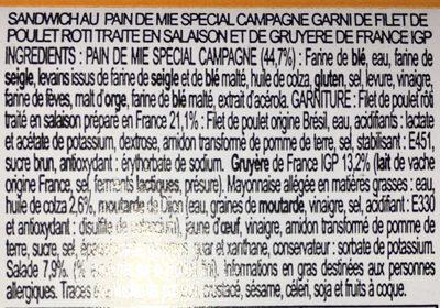 Poulet rôti Gruyère de France IGP Pain spécial campagne moelleux - Ingrédients - fr