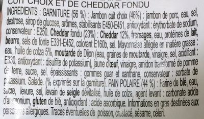 Pain Suédois Jambon Cheddar  - Ingredients
