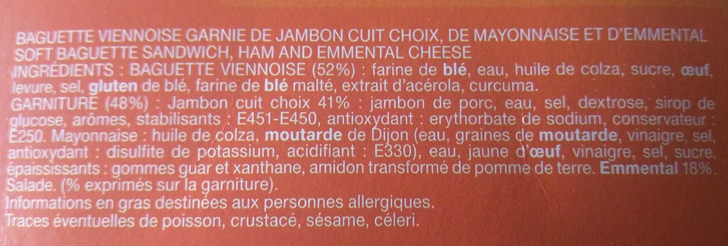 Le Moelleux Jambon Emmental - Ingredients