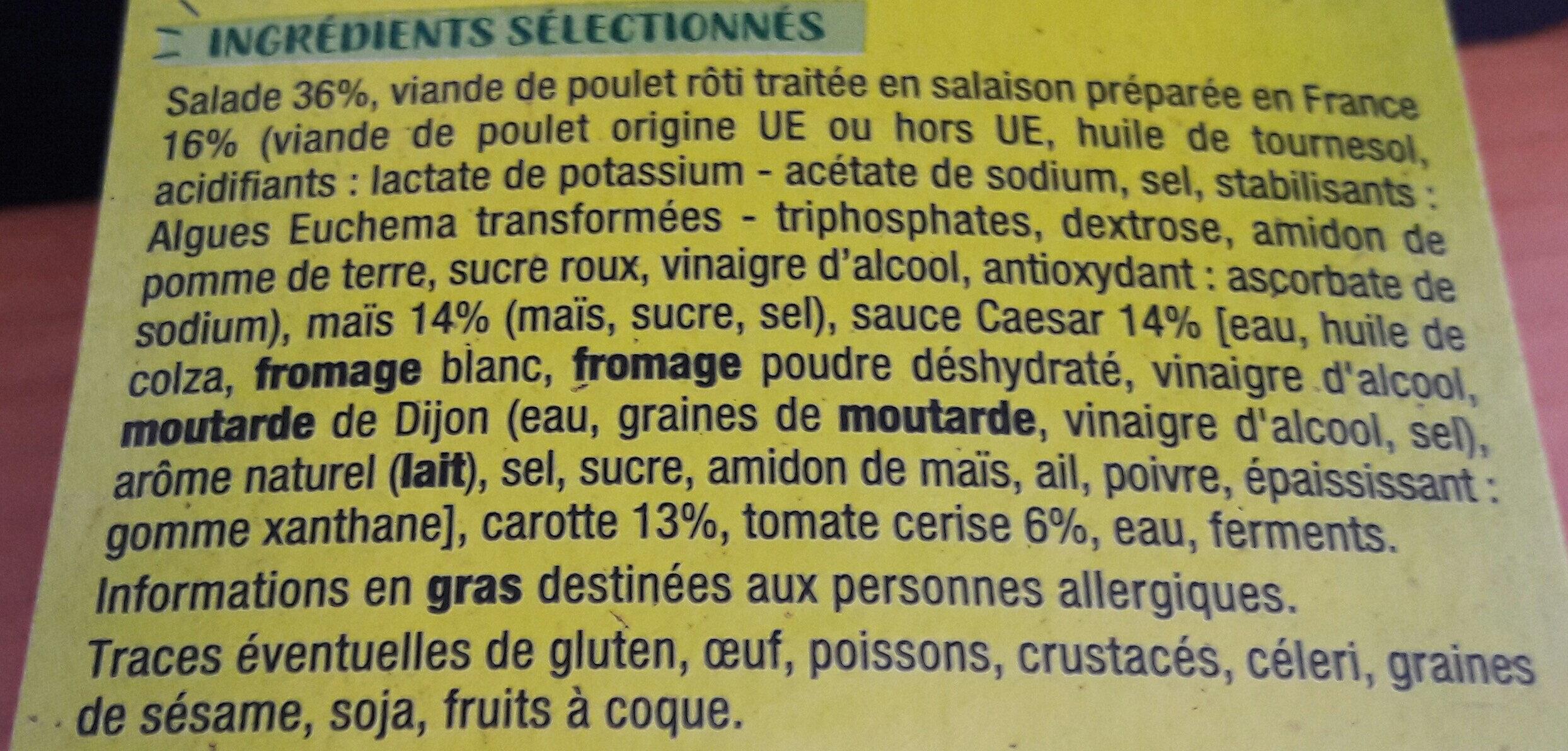Bulle Fraîcheur Poulet Crudités sauce caesar - Ingrédients - fr