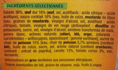 Salade surimi oeuf sauce cocktail salade & crudités - Ingredients