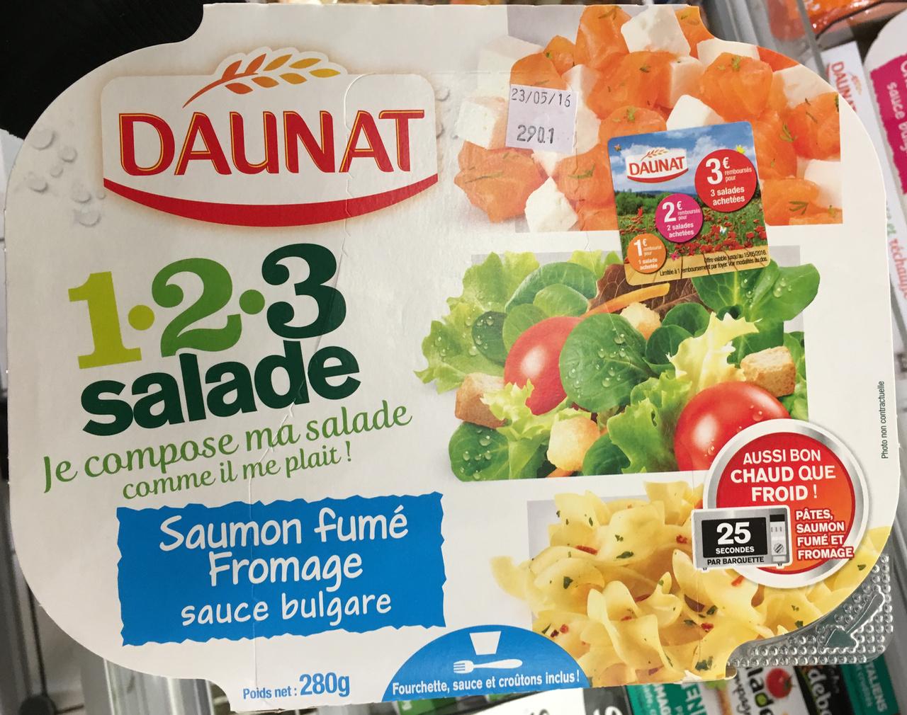 1-2-3 Salade Saumon fumé Fromage sauce bulgare - Produit - fr