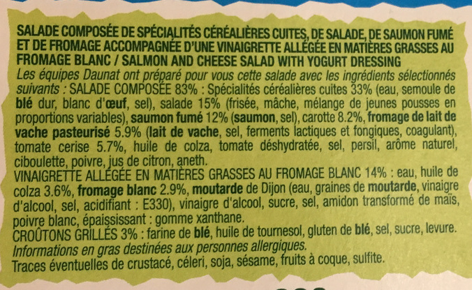 1-2-3 Salade Saumon fumé Fromage sauce bulgare - Ingrédients - fr