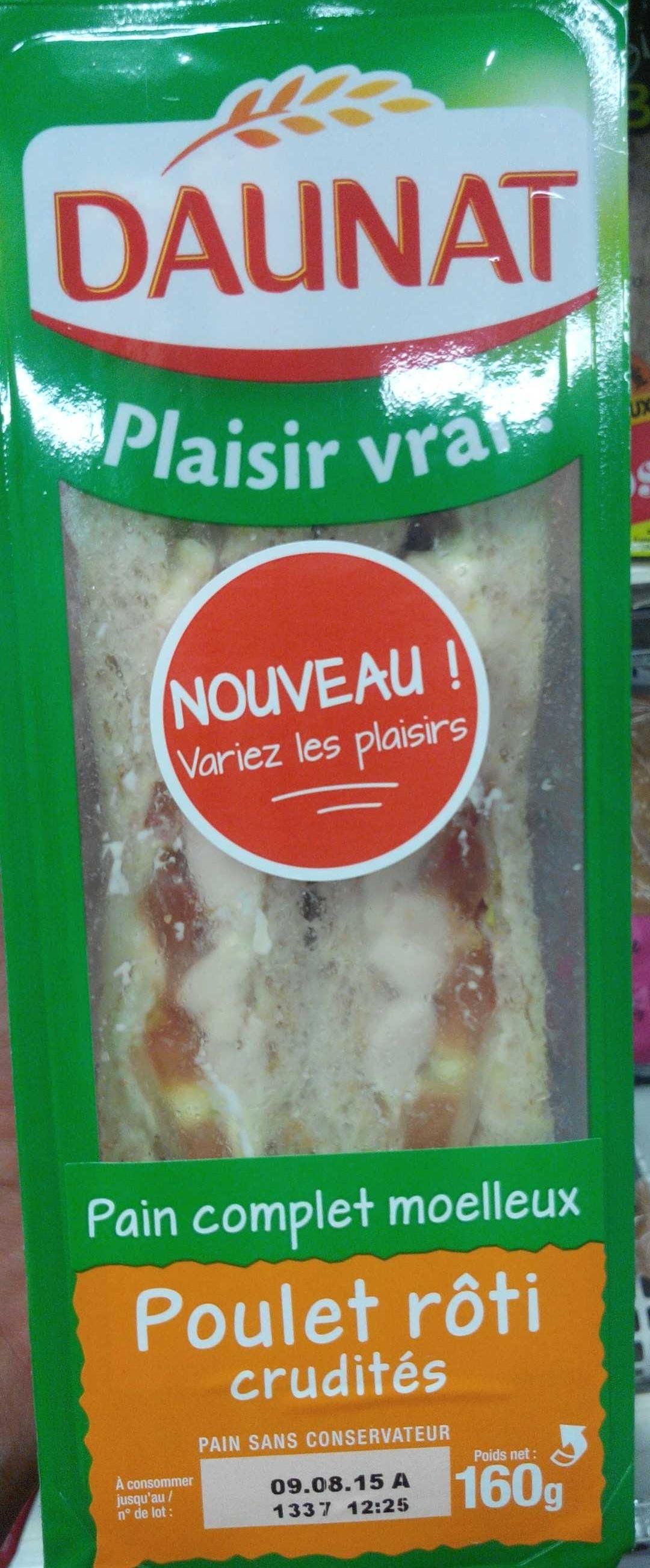 Le Club classique pain complet Poulet rôti crudités - Produit - fr