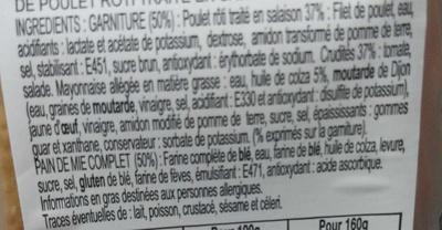 Le Club classique pain complet Poulet rôti crudités - Ingrédients - fr