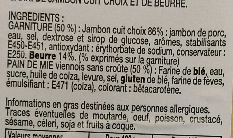 Loves Mie Jambon Beurre - Ingrédients - fr