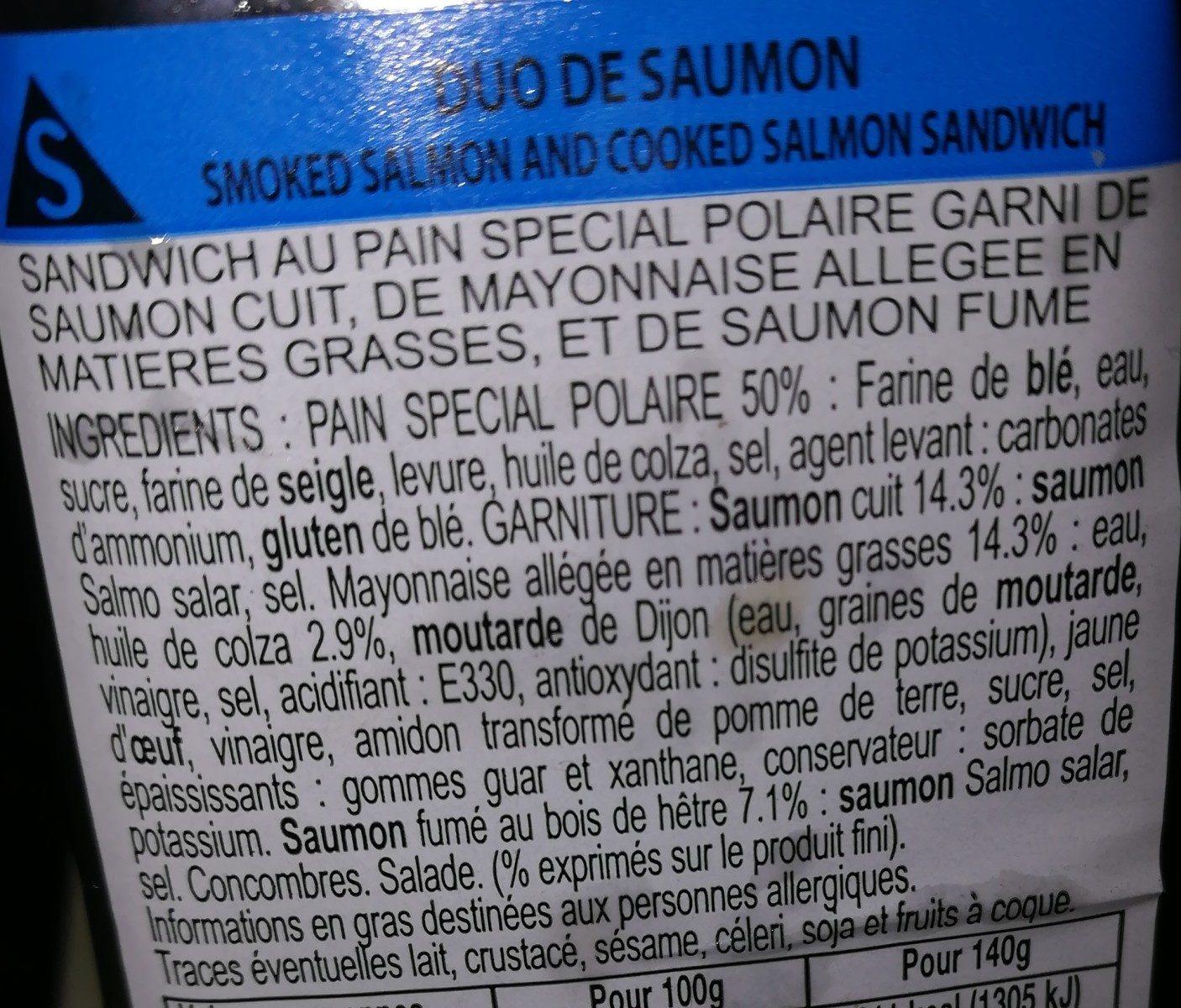 Sandwich Duo de Saumon - Ingredients