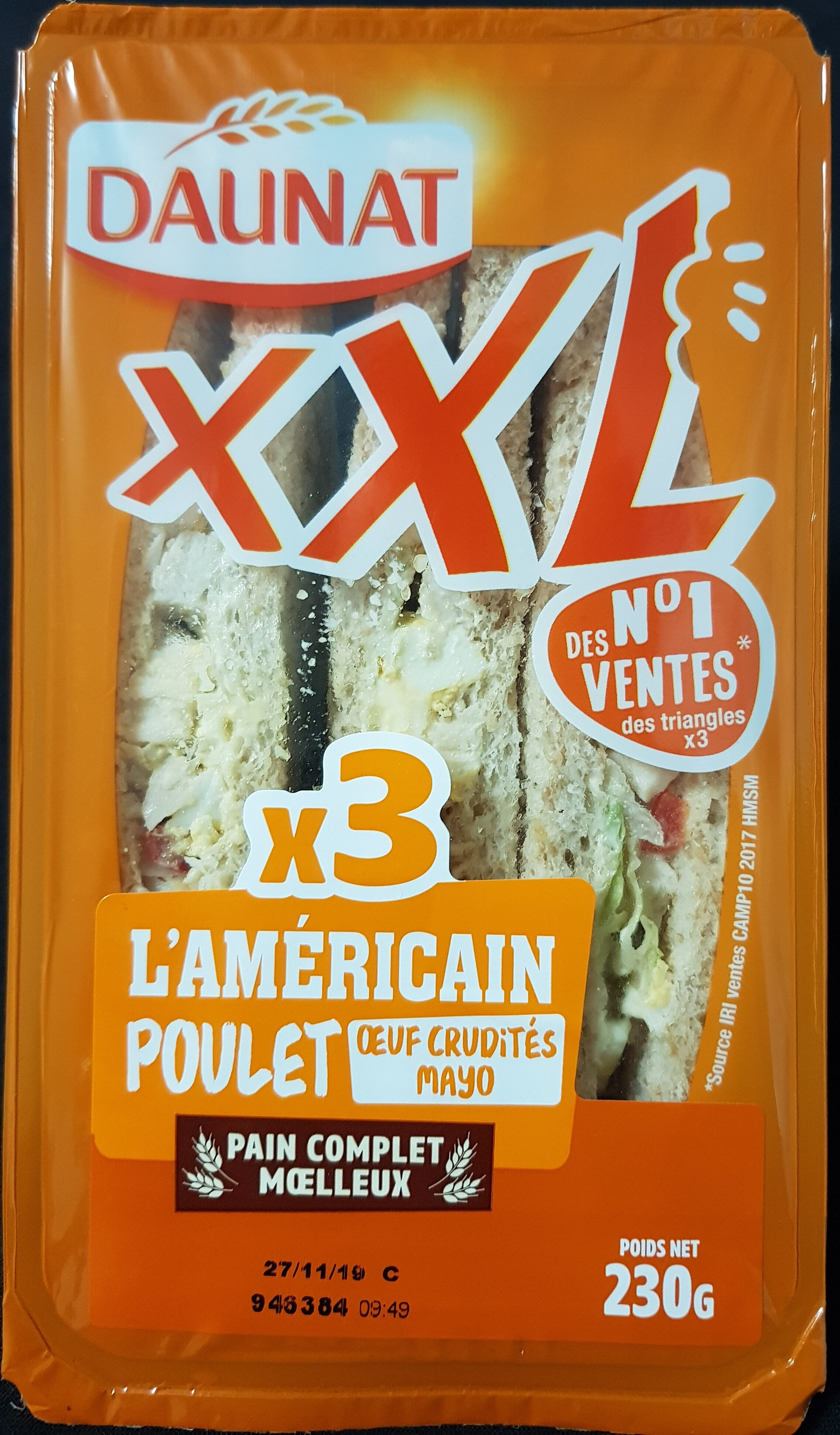Sandwich XXL poulet rôti oeuf - Produit - fr
