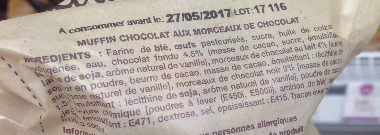 Muffin au chocolat et pépites de chocolat DAUNAT - Ingrédients