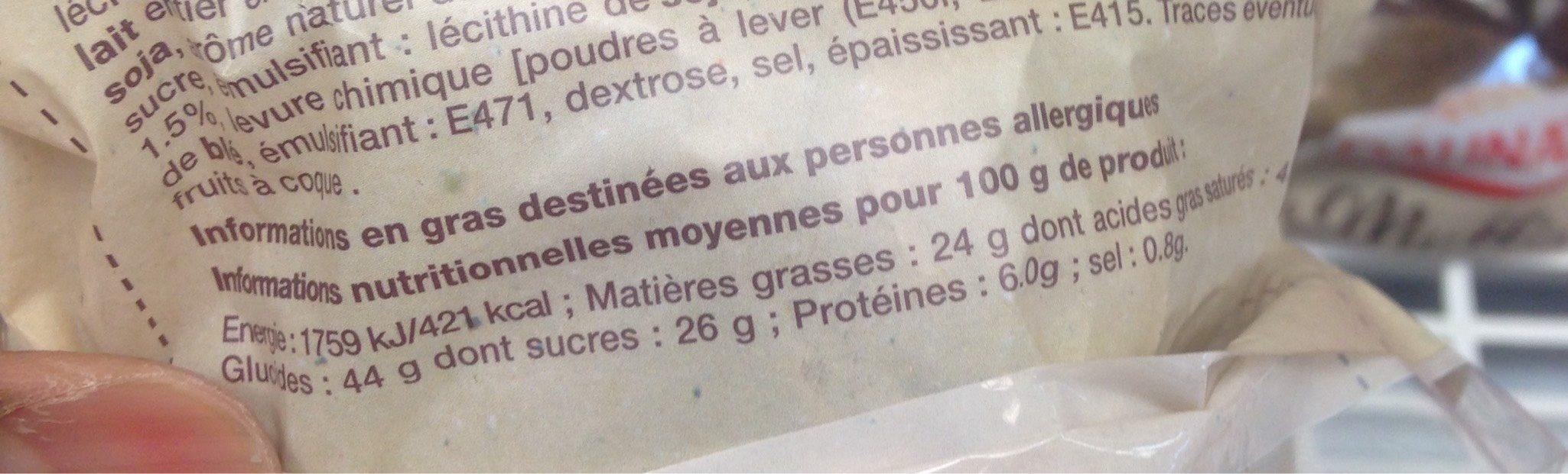 Muffin au chocolat et pépites de chocolat DAUNAT - Informations nutritionnelles