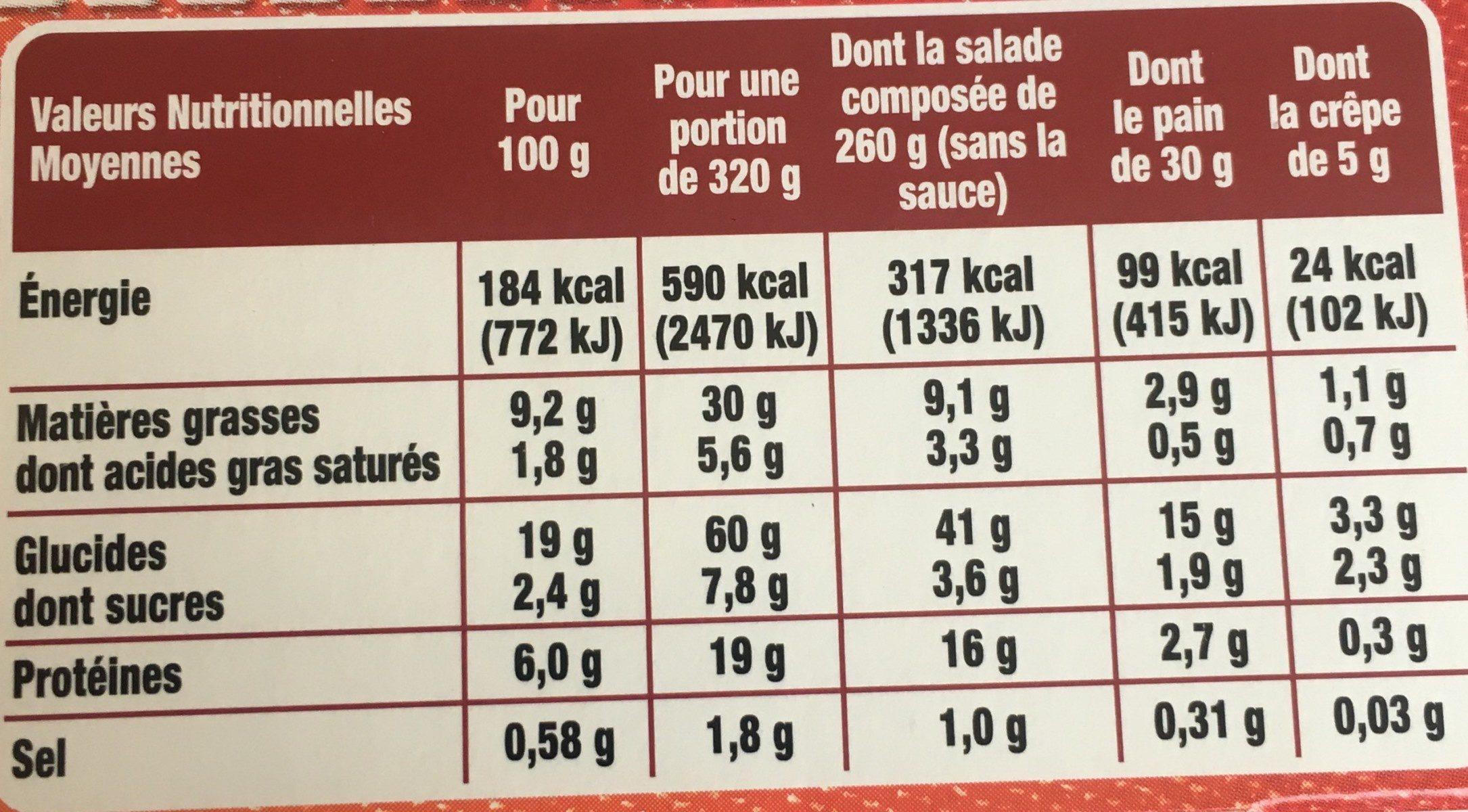 Ma Salade Bistrot Pates Jambon Speck Chevres - Informations nutritionnelles