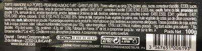 Tarte Amandine aux poires gourmande - Ingrediënten