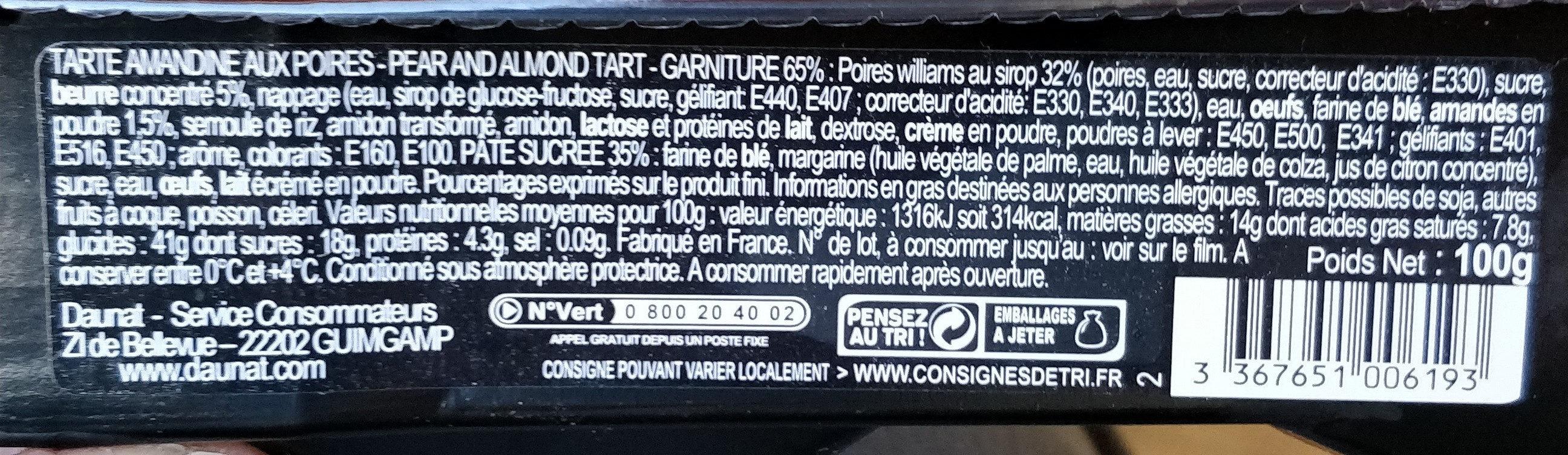 Tarte Amandine aux poires gourmande - Voedigswaarden