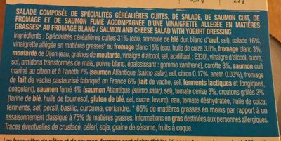 Salade saumon fumé - fromage - Ingredients