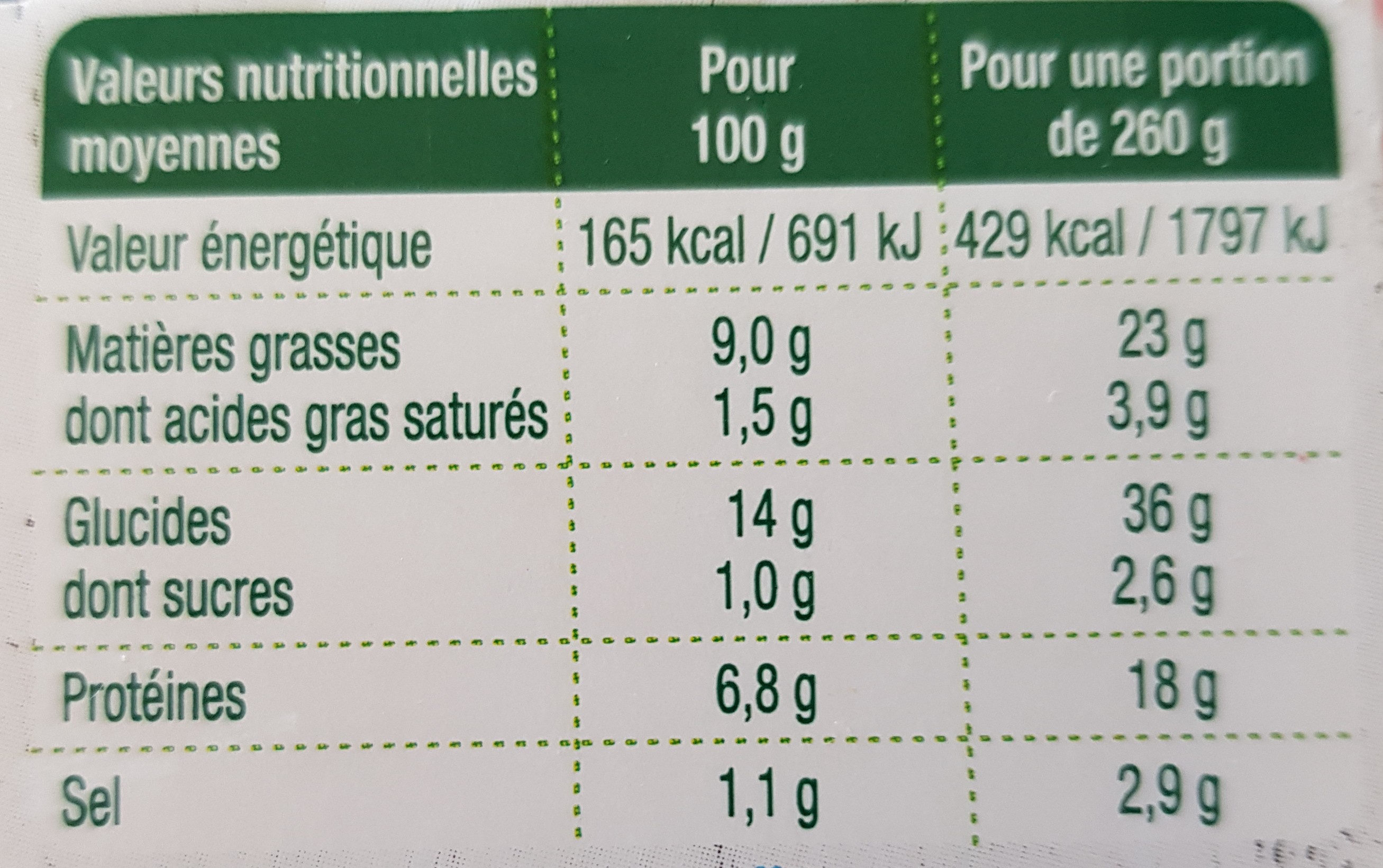 Salade saumon fumé - fromage - Nutrition facts