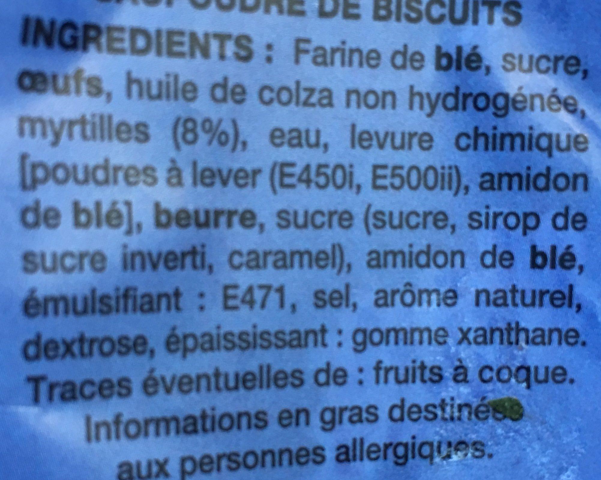 Muffin Myrtilles Facon Crumble - Ingrédients - fr