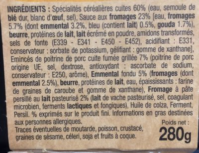 Pennes 3 fromages - Ingrediënten
