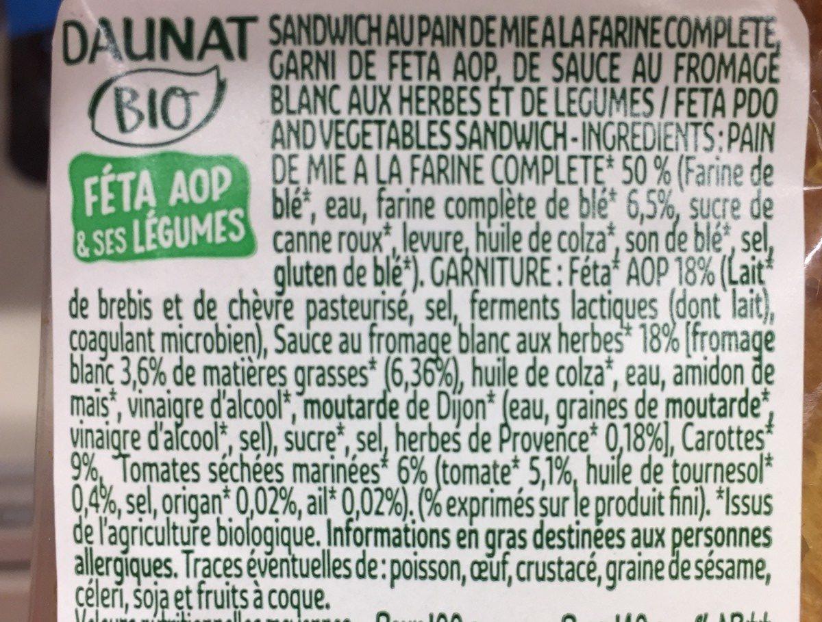 Le Club Bio Féta AOP & se légumes - Ingrédients - fr