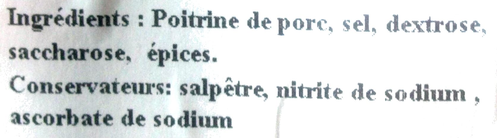 Poitrine Plate campagne - Ingrediënten