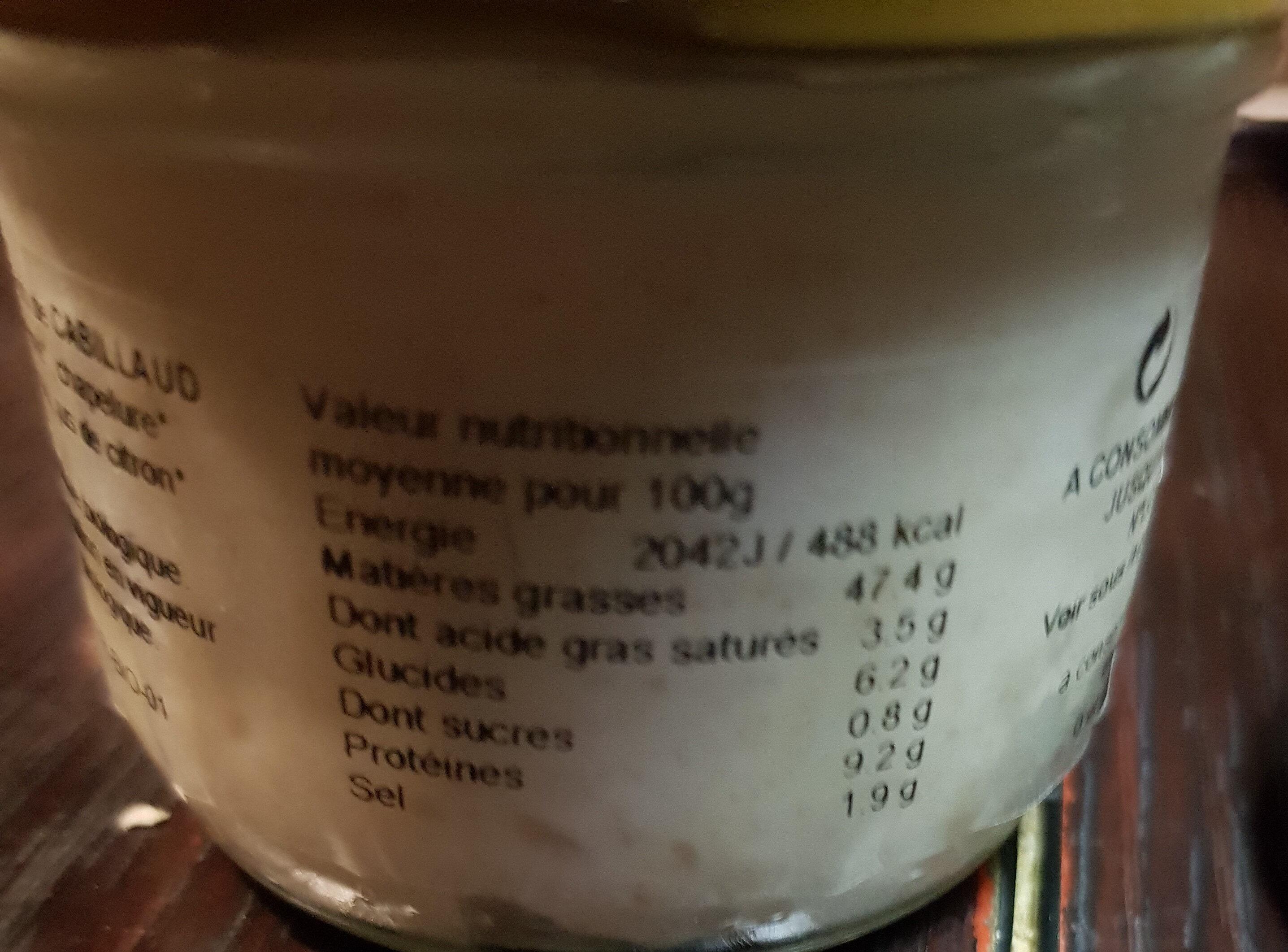 Tarama blanc - Informations nutritionnelles - fr