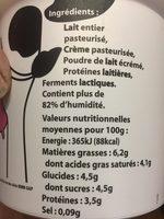 Fromage blanc de campagne au lait des Alpes - Ingrédients - fr