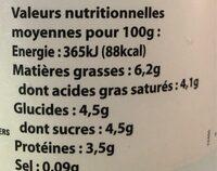 Fromage blanc de campagne au lait des Alpes - Informations nutritionnelles - fr