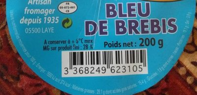 Bleu de brebis 28% M.G. - Nutrition facts