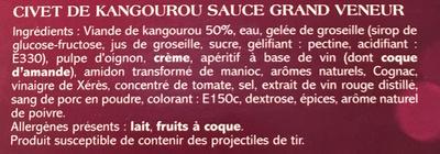 Civet de Kangourou sauce Grand Veneur - Ingrediënten - fr